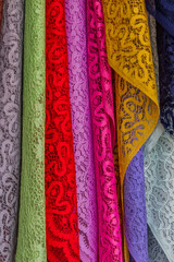 Colorful of fabric Lace rolls.