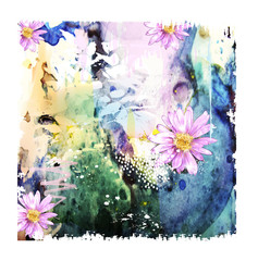 abstract watercolor background with flowers