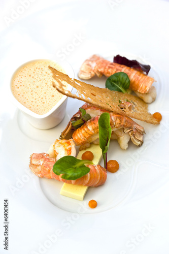 Roasted langoustines, coconut and curry jelly, lobster soup