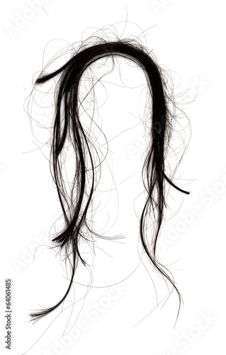 black hair isolated on white