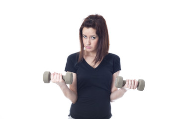Young woman weightlifting