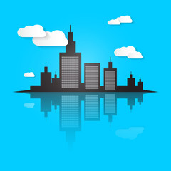 City Scape Vector Illustration on Blue Background