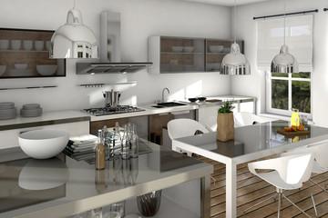 Weiße Küche mit Edelstahl und Esstisch