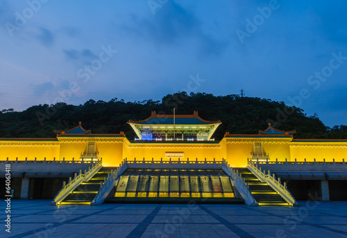 Night scene of National Palace Museum in Taipei, Taiwan
