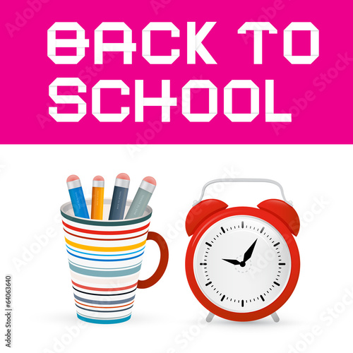 Back to School Paper Title with Alarm Clock, Cup and Pencils