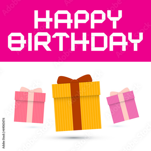 Happy Birthday Vector Illustration with Paper Gift Boxes