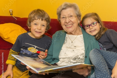 Grandma Reading Book to Kids
