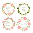 Floral frame wreaths for wedding invitations