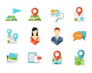Location flat icons