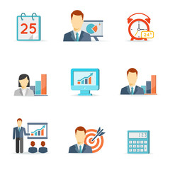 Set of colorful vector business icons