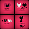 Set of vector romantic cards with two cute cats in love