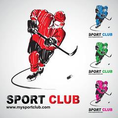 hockey sur glace club joueur hockeyeur logo sport