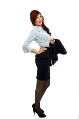 Business woman holding her coat over her arm