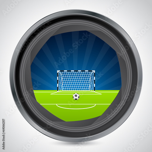 Soccer field seen through camera shutter