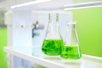 flasks with green liquid in a chemistry lab