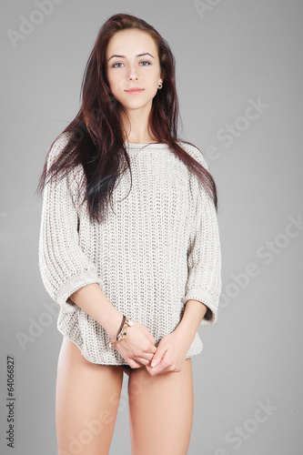 beauty girl in sweater