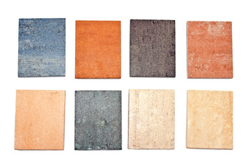 Colorful granite texture samples collection catalog