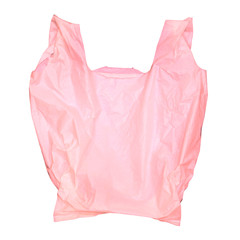 Pink plastic bag isolated on white