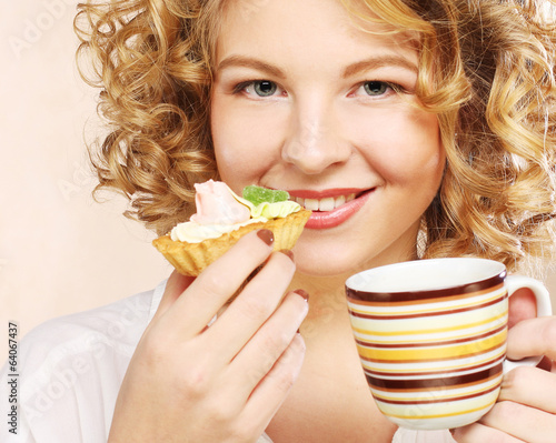 woman with coffee and dessert