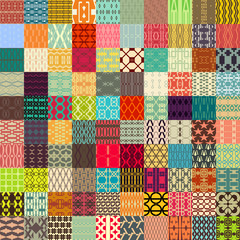 100 in 1 of Retro vector seamless patterns