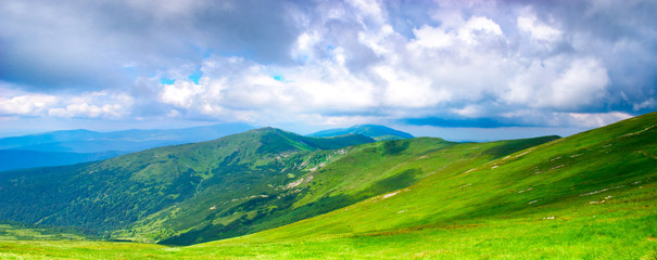 Panoramic view of Carpathian mountains