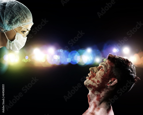 wounded man and the doctor