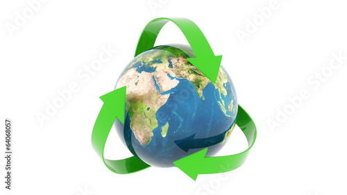 green recycling earth isolated on white background