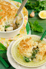 Fish pie baked with dorado, topped with mashed potato