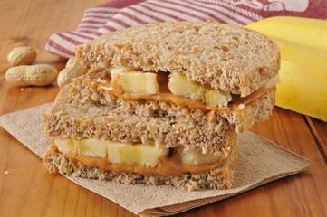 Peanut better and banana sandwich
