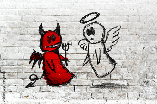 Angel and devil fighting; doodle drawing on white brick wall © Bits and Splits