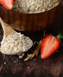 organic oat flakes with strawberries, a healthy diet