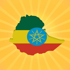 Ethiopia map flag on sunburst illustration