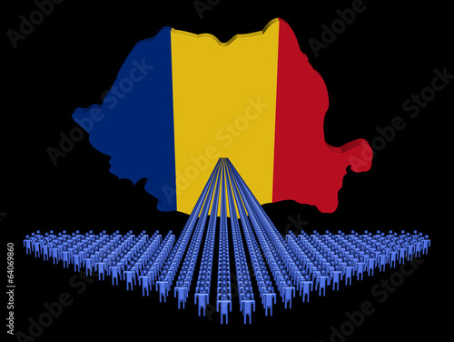Arrow of people with Romania map flag illustration
