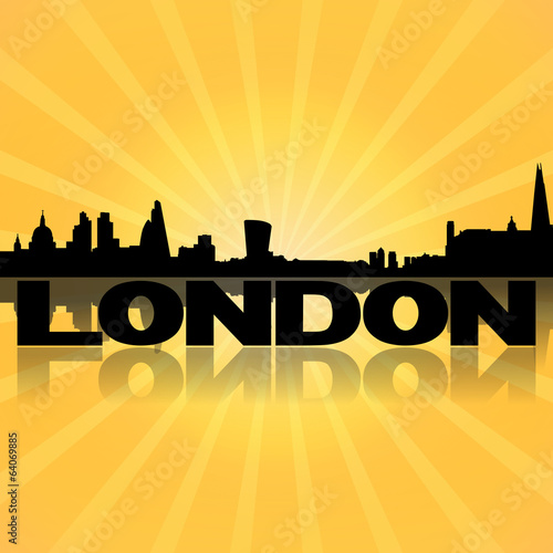 London skyline reflected with sunburst illustration