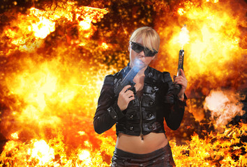 Hot blonde woman with gun over explosion