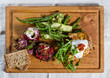 Salad selection on wooden board