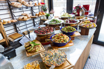 Display of salads in a restaurant