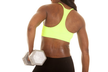 African American woman fitness green body back weight