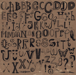 Whimsical Hand Drawn Alphabet Letters and Keystrokes