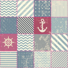 Retro patchwork in nautical style.