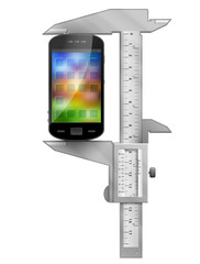 Concept of smartphone and measuring tool (caliper)