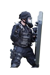 policeman in a gas mask and shield, isolated on white
