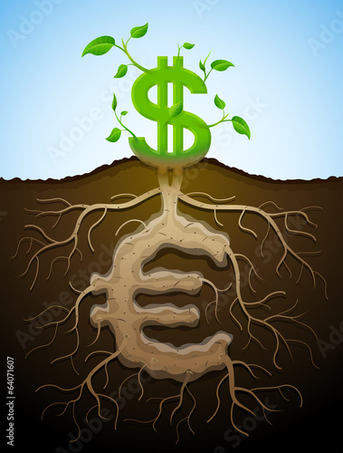 Growing dollar sign like plant with leaves and euro like root