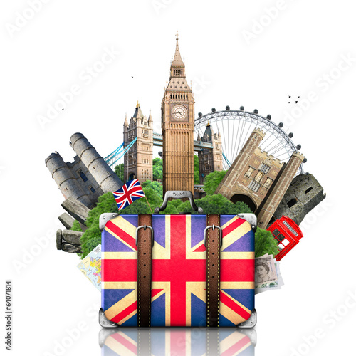 England, British landmarks, travel and retro suitcase - 64071814