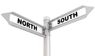 North, south. Road sign