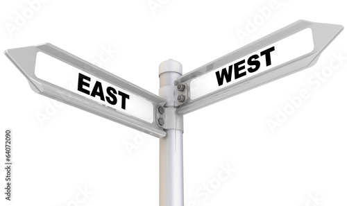 East, west. Road sign