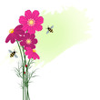 Springtime Colorful Flower with Bee Background