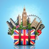 England, British landmarks, travel and retro suitcase - 64072206
