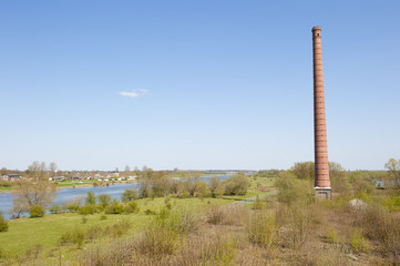 Chimney of ancient brick factory