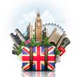 Obrazy na płótnie, fototapety, zdjęcia, fotoobrazy drukowane : England, British landmarks, travel and retro suitcase